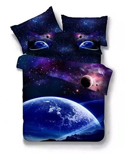 Tifee Bettwäsche-Set mit 3D-Druck, Bettbezug, Kissenbezug, Spannbetttuch, mysteriöse, grenzenlose Galaxie, roter Himmel, Sternennacht, 3-teilig, 160-210 cm (Stil 11)
