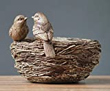 GZSBM Estatua Decorativa Resina Estilo Rural Gorrión Pájaro Pareja Y Nido Estatua Decoración Regalo Artesanía Accesorios