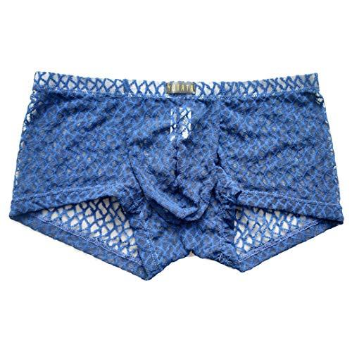 Pandodut Männer Sexy Unterwäsche-Boxer-Spitze-Ineinander greifen durchschauen Homosexuell Penis Tasche Mann lässig Boxershorts Unterhose Blue S
