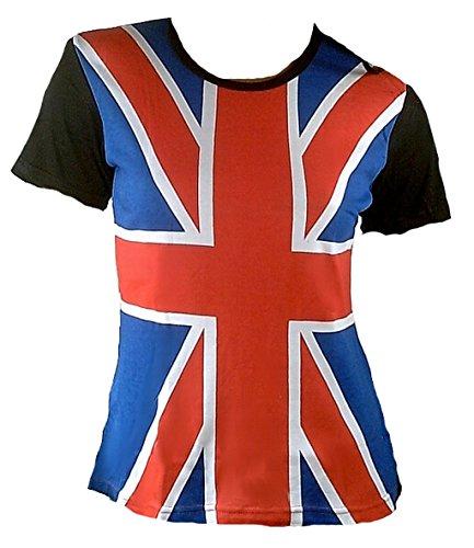 TICILA Maglietta da donna con bandiera inglese e bandiera inglese, colore rosso, blu, bianco, nero, design All Over Print VIP Punk Star Blu M