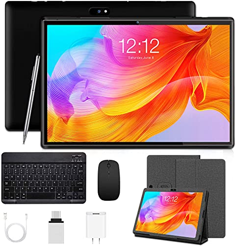 Android Tablet 10 inch, Tablet with Keyboard Mouse, 3GB RAM 32GB ROM/128GB, Android 9.0 Pie, Dual SIM 4G, 8MP Camera, 8000mAh, Quad Core, OTG, GPS, Bluetooth, WiFi, Google Certified Tablet (Black)