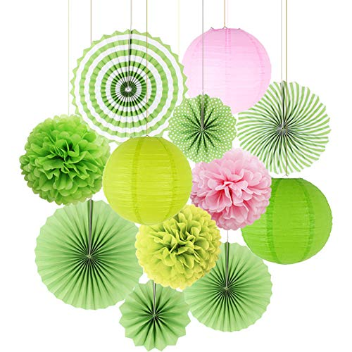 Kubert Hanging Party Decorations Set, 12pcs Green White Paper Flowers Pom Poms Balls Hanging Tissue Fan and Paper Lanterns for St. Patrick's Day Birthday Bridal Baby Shower Graduation