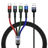 USAMS Multi USB Kabel, 4 in 1 Ladekabel Handy 1.2M für Auto/Büro, Nylon Mehrfach für 2 iP+ USB C+ Micro USB, Universal für XS Max XR X 8 7 6S 6 Plus, Samsung Galaxy Huawei alle Smartphones