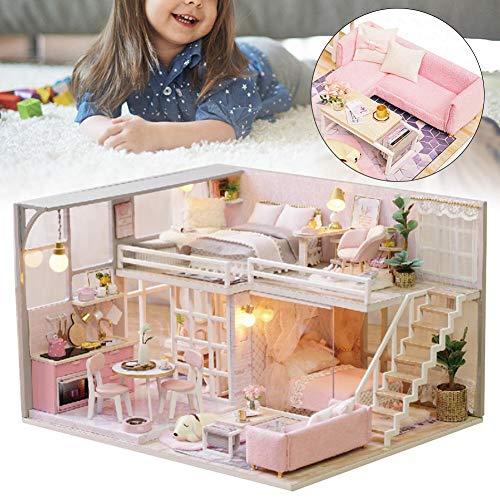 【𝐂𝒚𝐛𝐞𝐫 𝐌𝐨𝐧𝐝𝐚𝒚】DIY Dollhouse, kit de muebles en miniatura de casa de muñecas de madera con LED Mini juguete de casa de muñecas hecho a mano creativo romántico regalos de cumpleaños para muje