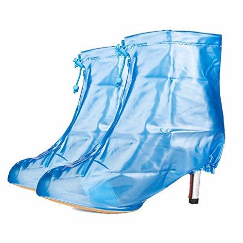 zhxinashu Frauen Wasserdichte Fahrrad Schuh Abdeckung, Hochhackige Stiefel Bedeckt Wiederverwendbare Rutschfeste Überschuhe,Blau,XL