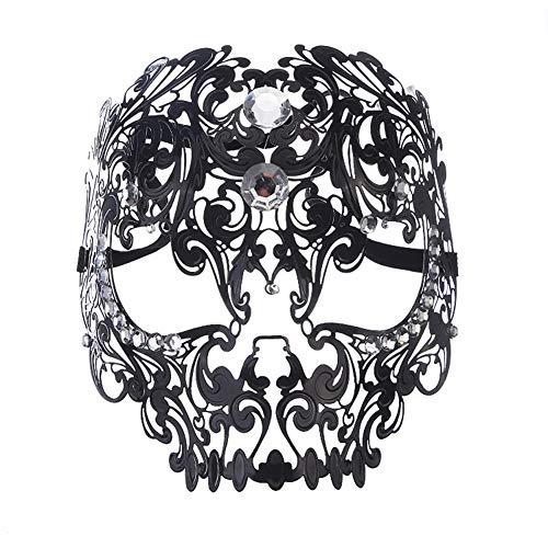 FKLMRKL Metalldiamantmaske, Halloween-Maskerade-Eisenmaske, Vollgesichts-Metallmaske für Männer und Frauen, Ostern-Karneval-Anzieh-Requisiten,Schwarz