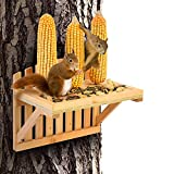 Squirrel Feeders for Outside - AIMUCT Squirrel Picnic Table Feeder, 3 Corn Cob Holders, 11.8X7.5X9Inch, Wood Chipmunk Feeder Can Hold Peanuts, Nuts, Funny Squirrel Feeder Hangs on Trees Fences Posts