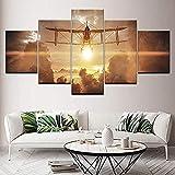 5 Gemälde auf Leinwand Gemälde auf Leinwand Sonnenlicht Flugzeug handgefertigte Wandkunst Bilder 5 Stück modulare Tapeten Poster drucken Wohnzimmer Home Decor - fünfteilige Gemälde-Inner frame