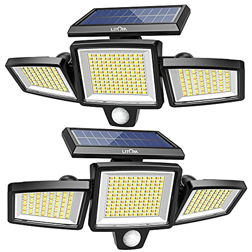 304 LED Solar Lights Outdoor, Super Bright with Motion Sensor and Higher Security, 360° Adjustable 3 Head, 4 Modes& 2 Color, IP67 Waterproof for Patio Yard Garage Door Driveway 2 Pack