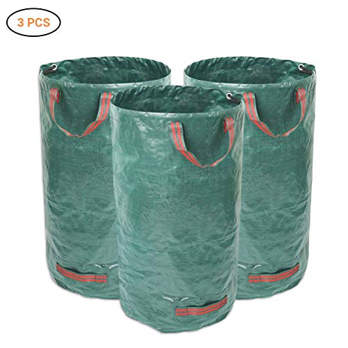 Mlamat Tuinblad opbergtas, 3 stuks tuinafvalzak Tuinbladzak 120L waterdichte roterende zak met handvat Opvouwbaar en herbruikbaar