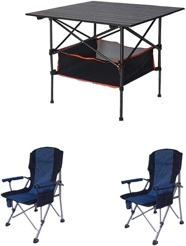 XIN Small Portable Camping Black Folding Three-Piece Luxury goods T outlet Table