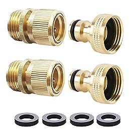 HQMPC Tuyau d'arrosage connecteur Rapide ¾ Pouce GHT Laiton Easy Connect Fitting (Lotmusic)