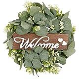 VALICLUD Künstliche Eukalyptus Kranz Blätter Girlande 33cm Willkommensschild Hochzeit Türkranz Willkommen Türschild Wandkranz für Valentinstag Wohnzimmer Wanddeko Ostern Frühling Haustür Deko