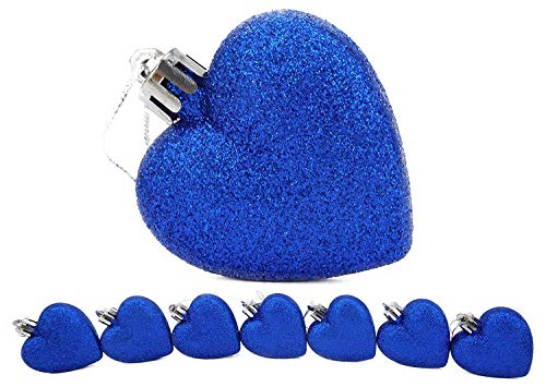 Christmas Concepts Pack of 8-60mm Heart Shaped Christmas Tree Baubles – Glitter Decorated Baubles (Blue)