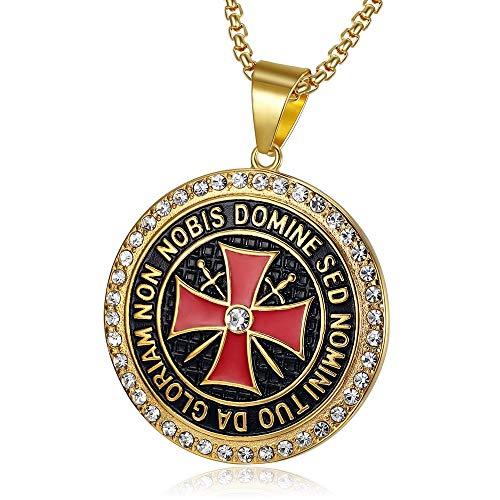 BOBIJOO Jewelry - Hanger Templar 41mm Stalen Gouden Strass Zirkonium Kruis Non Nobis + Ketting 60cm