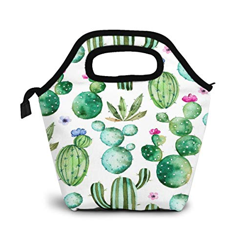 Cactus Cactus Flower Insulated Lunch Portable Carry Tote Picnic Storage Bag Green Plant Lunch Box Food Bag Gourmet Handbag Cooler Warm Pouch Tote Bag For Work Office