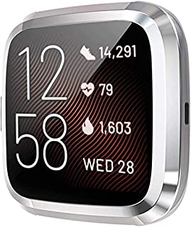 TASLAR TPU Soft Full Screen Guard Protector All-Around Protective Case Bumper Shell Accessories Compatible with Fitbit Versa 2 Smartwatch (Silver) (Not for Versa 1)