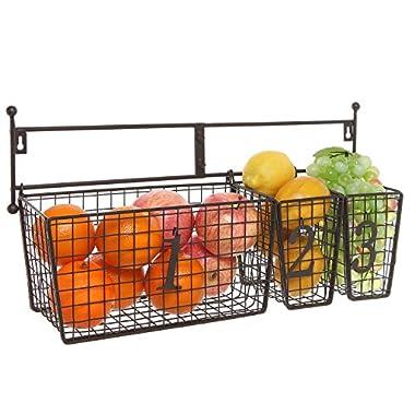 Wall Mounted Black Metal Wire Mesh Numbered Storage Basket Set/Multipurpose Accessory Organizer Rack
