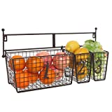 Wall Mounted Black Metal Wire Mesh Numbered Storage Basket Set/Multipurpose Accessory Organizer Rack