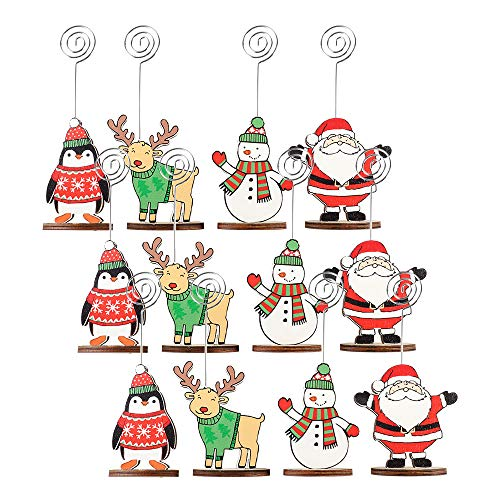 Picowe 12Packs Christmas Wood Place Card Holders with Swirl Wire and 20Pcs Kraft Place Cards, Wooden Table Memo Photo Picture Number Sign Stands Holder for Party Table Decorations