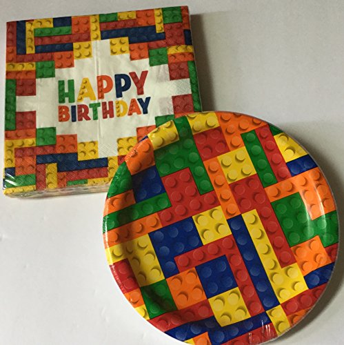 Block Party Supplies for 20 -- Block Party 7 inch dessert plates (20) and 12 inch Napkins (20) (Bundle of 2 items) Total 40 pieces