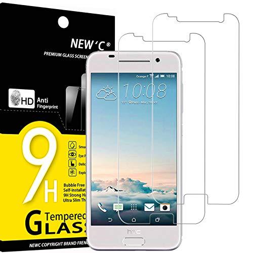 NEW'C 2 Stück, Schutzfolie Panzerglas für HTC One A9, Frei von Kratzern, 9H Festigkeit, HD Bildschirmschutzfolie, 0.33mm Ultra-klar, Ultrawiderstandsfähig