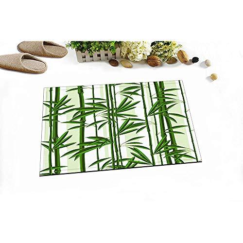 D-M-L Grüne Pflanze Palmblätter Dekoration Stilvolle Badteppiche Persönlichkeit Bambussprossen Outdoor Indoor Haustürmatte rutschfeste Badematte 40X60CM
