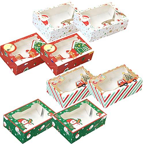 8 sztuk bożonarodzeniowych pudełek na ciasteczka, świąteczne pudełka na słodycze z przezroczystym oknem, pudełka na prezenty pudełka na babeczki z oknem, świąteczne pudełka na słodycze z przezroczystym oknem na Boże Narodzenie urodziny przyjęcie