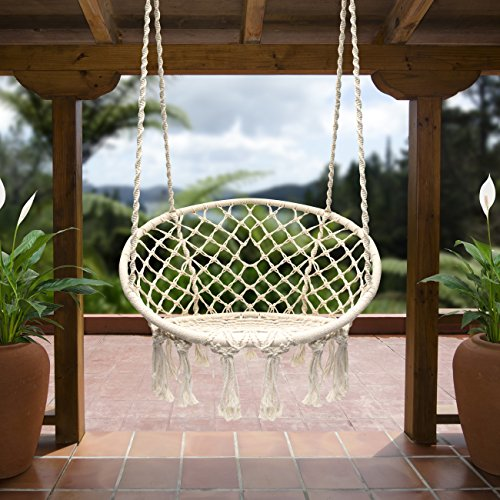 Sorbus Hammock Chair Macrame Swing, 265 Pound Capacity, Perfect for Indoor/Outdoor Home, Patio, Deck, Yard, Garden (Single Swing)