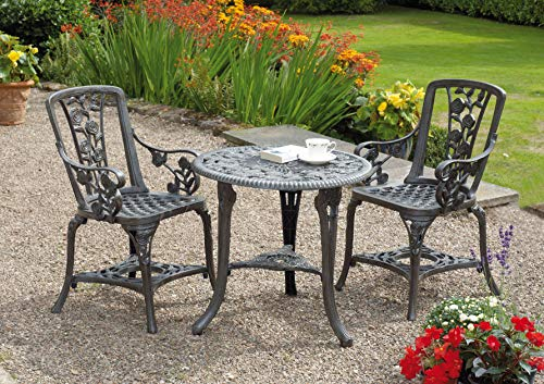 Gablemere 2 Seater Plastic Rose Design Patio Set with Round Bistro Table in Gun Metal Grey Finish