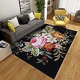 Alfombra moderna para sala de estar, suave al tacto, grande, a la moda, para dormitorio, flores de colores, 160 x 280 cm