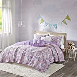 Urban Habitat Kids Lola Reversible Cotton Unicorn Floral Flower Botanical Printed Embroidered Pillow Soft Down Alternative Hypoallergenic Season Coverlet Quilts Bedding-Set, Full/Queen, Pink comforters Mar, 2021