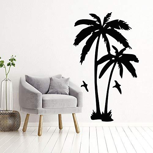 Palmera pegatina de pared de vinilo mar playa estilo decoración del hogar palmera con gaviota calcomanía de pared árbol de verano decoración de vinilo mural A1 42x77cm