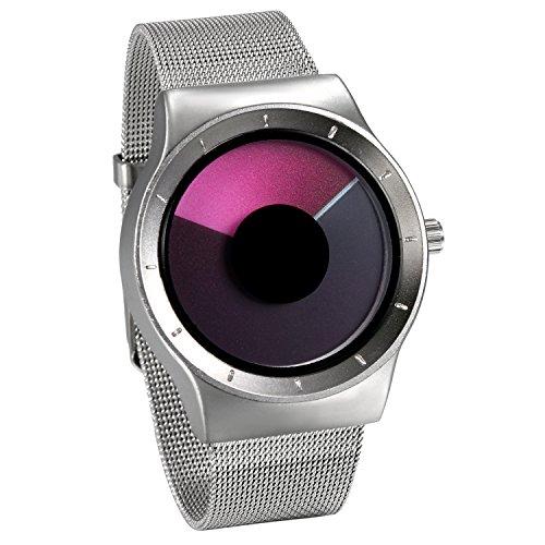 JewelryWe Herren Damen Armbanduhr, Einzigartig Klassische Analog Quarz Uhr Silber Edelstahl Band Quarzuhren mit Rosa Neues Wirbel Design Zifferblatt