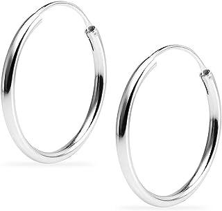 纯银无限 2mm 高抛光圆形轻质中性环状耳环   10mm - 60mm 直径