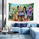 Disney Feen-Wandbehang, Natur-Polyester-Stoff, Wandteppich, Ozeanwellen, Kunst, Heimdekoration für Schlafsaal, Schlafzimmer, Wohnzimmer, Trippy-Party-Dekorationen, große Decke