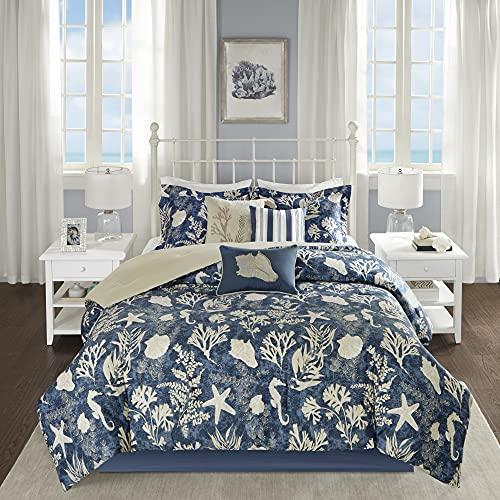 Madison Park Cotton Comforter Set-Coastal Coral, Starfish Design All Season Down Alternative Cozy Bedding with Matching Shams, Decorative Pillow, Queen(90'x90'), Blue 7 Piece
