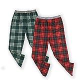 Calvin Klein Boys' Little Sleepwear Super Soft Brushed Micro Pajama Pant, 2 Pack, Plaid Green, Windowpane Apple Red, S