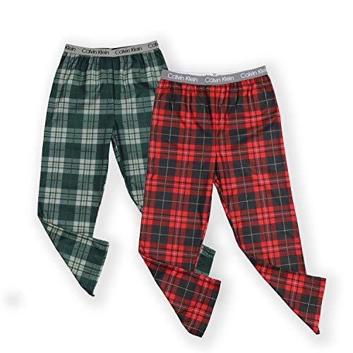 Calvin Klein Boys' Little Sleepwear Super Soft Brushed Micro Pajama Pant, 2 Pack, Plaid Green, Windowpane Apple Red, Medium