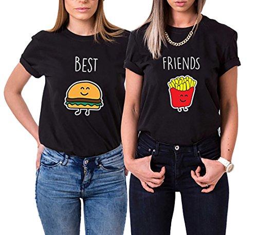 Ziwater Best Friends T-Shirt Für 2 Mädchen mit Aufdruck Burger und Pommes Lustige Passende Kurzarm Damen (Best-S+Friends-S, Schwarz)