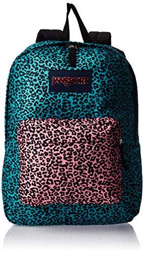 JanSport SuperBreak Backpack - Ultralight School Bag, Peacock Blue Leopard Life