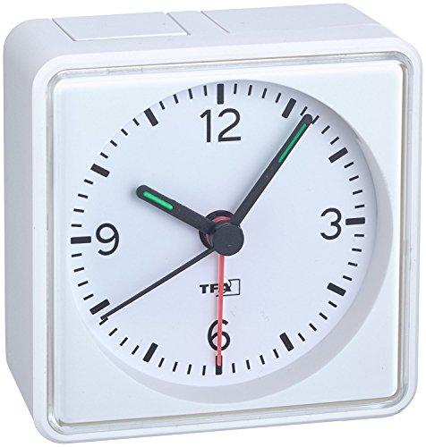 Analoge geluidloze wekker TFA 60.1013 Push Sweep-uurwerk zonder tikken Wit, met batterij.