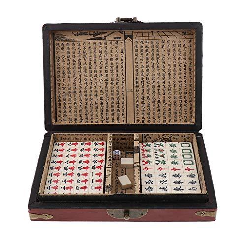 Homyl Juguete Mahjong de Madera de Mesas Caja de Cuero PU Antigua
