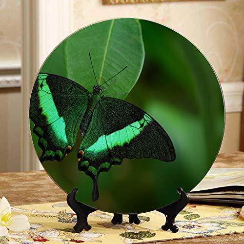 Platos de decoración de insectos de mariposa de colores voladores, plato de cerámica elegante, plato oscilante para el hogar con soporte de exhibición, decoración para el hogar, placa decorativa par