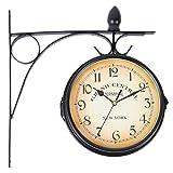 Youwise Reloj de Pared de Doble Cara 31 cm * 29 cm, Reloj de Estación de Tren de Color Negro, Reloj de Pared de Hierro, Reloj de Pared Números, Reloj de Pared Retro con Soporte de Montaje