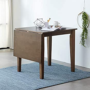 Livinia Medford Dropleaf Extension Dining Table Top Folding 29.5  to 47.2  Solid Hardwood Kitchen Table  Walnut