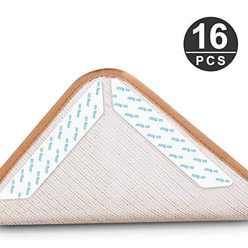 HXC 16 Stück Teppich Anti Rutsch Unterlage, Antirutschmatte für Teppich,Teppichgreifer rutschfeste, Waschbar,Wiederverwendbarer, Starke Klebrigkeit Teppichaufklebe Rutschschutzmatte