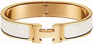 VORIER Bracelet Stainless Steel Unisex Buckle Bangle for Women Fashion Enamel H Shaped Bracelet Bangle