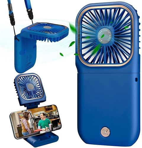 Mini Ventilador de Mano, Ventilador USB, Ventilador de Escritorio, Ventilador Portátil, Ventilador de Mesa Ventiladores Recargable USB para al Oficina, Hogar, Viajes, Exterior (Azul)