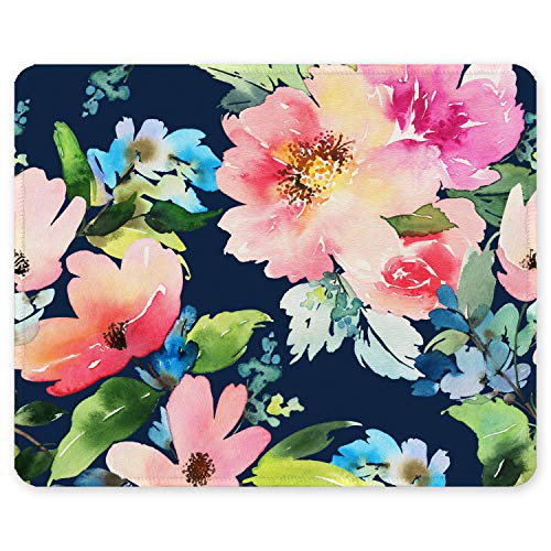Auhoahsil Mouse Pad, Square Floral Design Blue Daffodils Anti-slip Rubber Mousepad with Durable Stitched Edges for Gaming Office Laptop Computer PC Women, Cute Custom Pattern, 11.8 x 9.8 Inch, Flowers